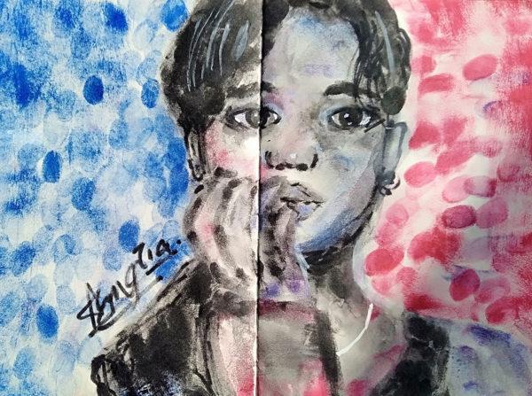 Tia Ang, ink pad painting