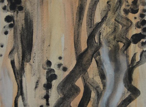Sara Marie Malmros, gouache & charcoal powder painting