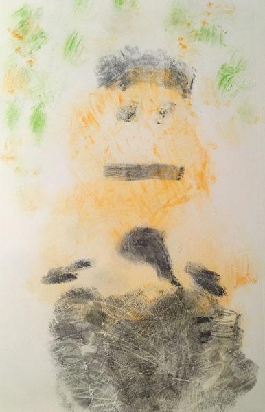 Darragh, charcoal pencil & highlighter