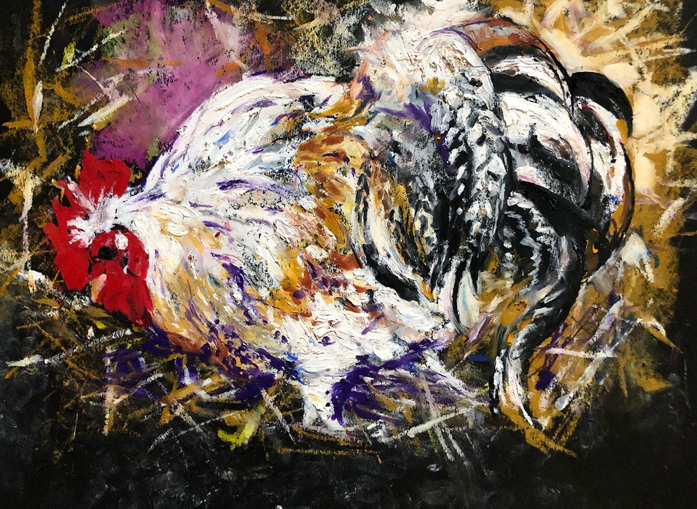 Oil Pastel Drawing of a Chicken, Clara Lieu