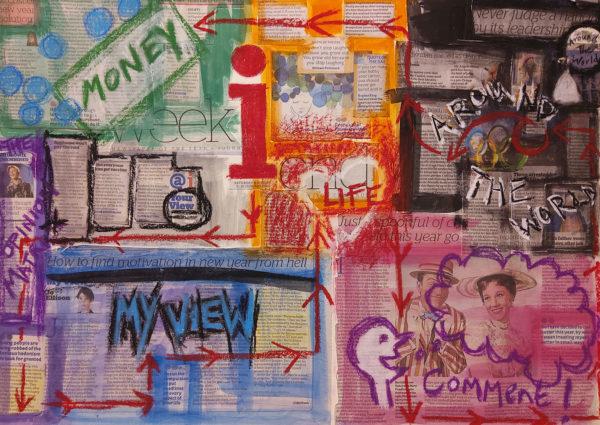 Newspaper Collage, Charlotte Furneaux