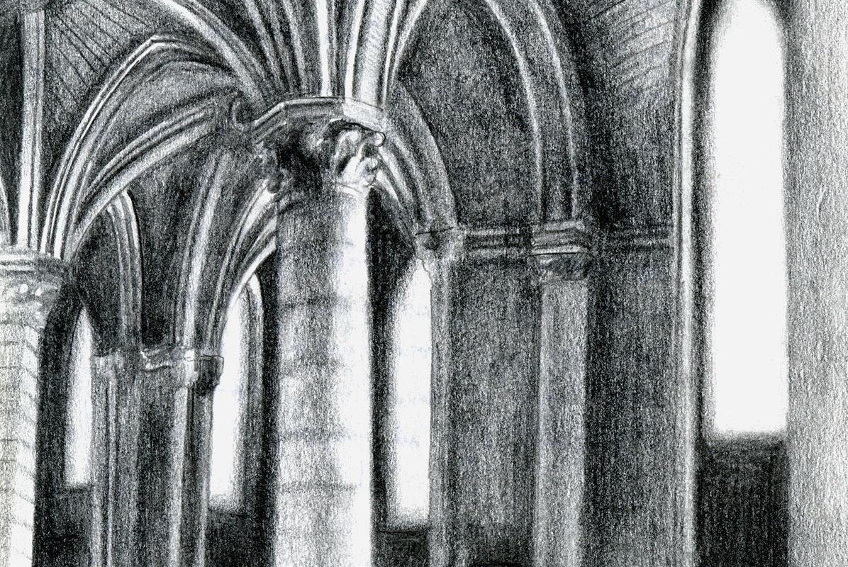 Pencil Sketchbook Drawing, Gothic Cathedral, Clara Lieu