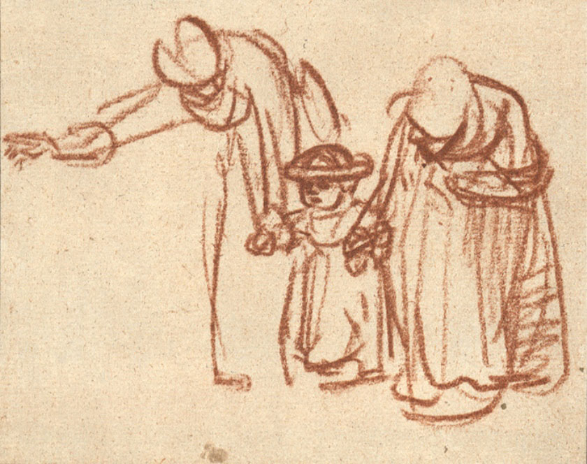 Rembrandt, Two Women Teaching a Child to Walk, Gesture Drawing