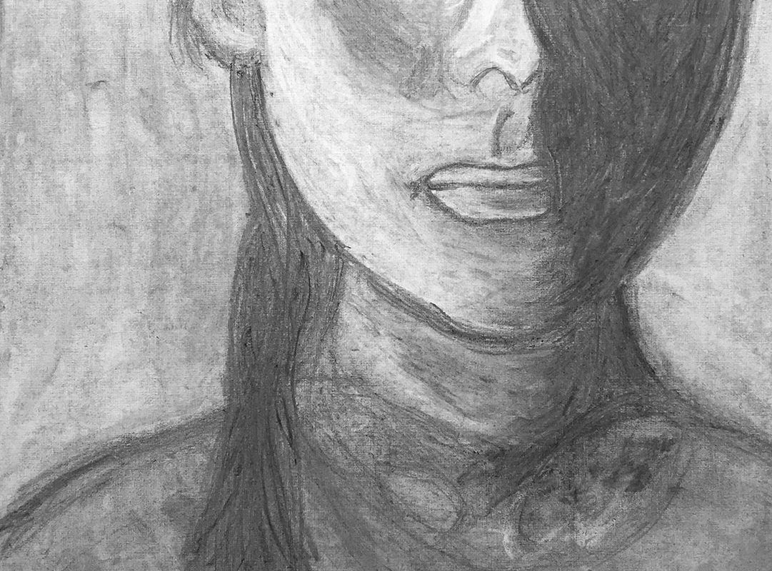 Charcoal Drawing by a Student at Millis High School