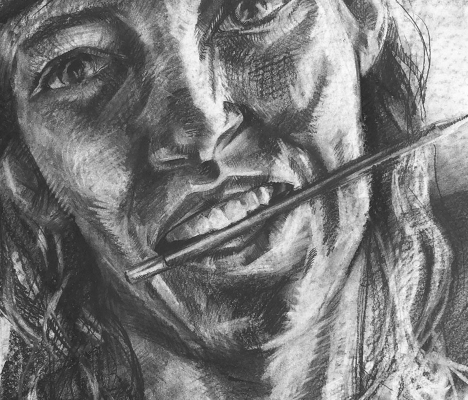 Charcoal Portrait Drawing by Lana Gloschat