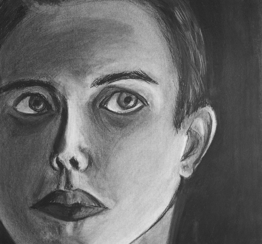 Charcoal Portrait Drawing by Ro Antia