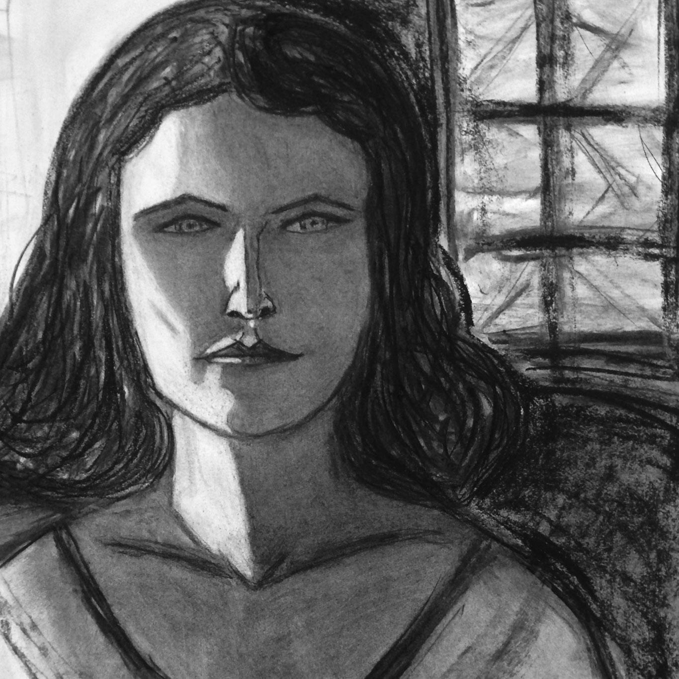 Charcoal Portrait Drawing by @bronwynne_art