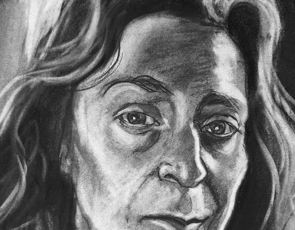 Self-Portrait Charcoal Drawing, Donna Bar Peled