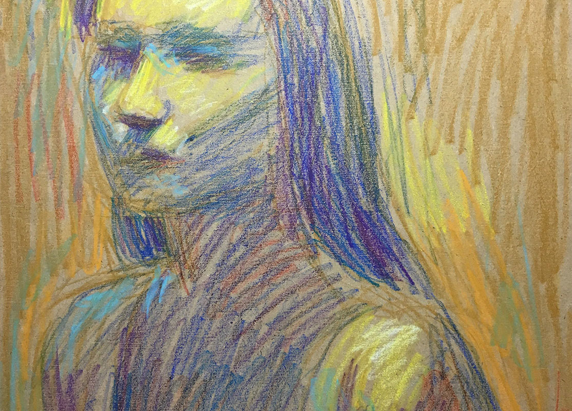 Crayon Drawing in Progress, Self-Portrait Drawing from Life, Catherine Huang