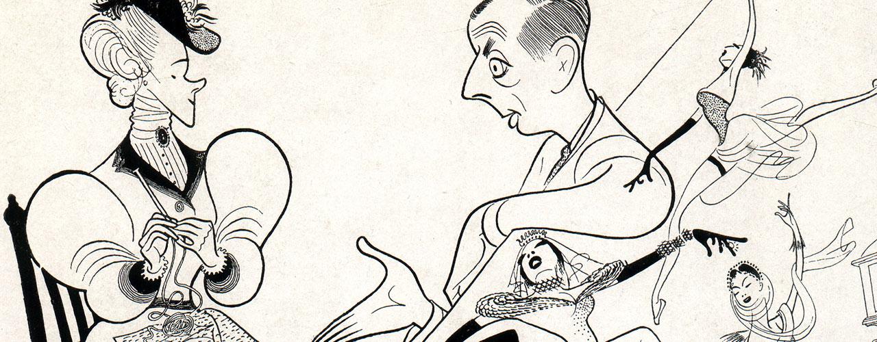 Al Hirschfeld portrait illustration pen drawing