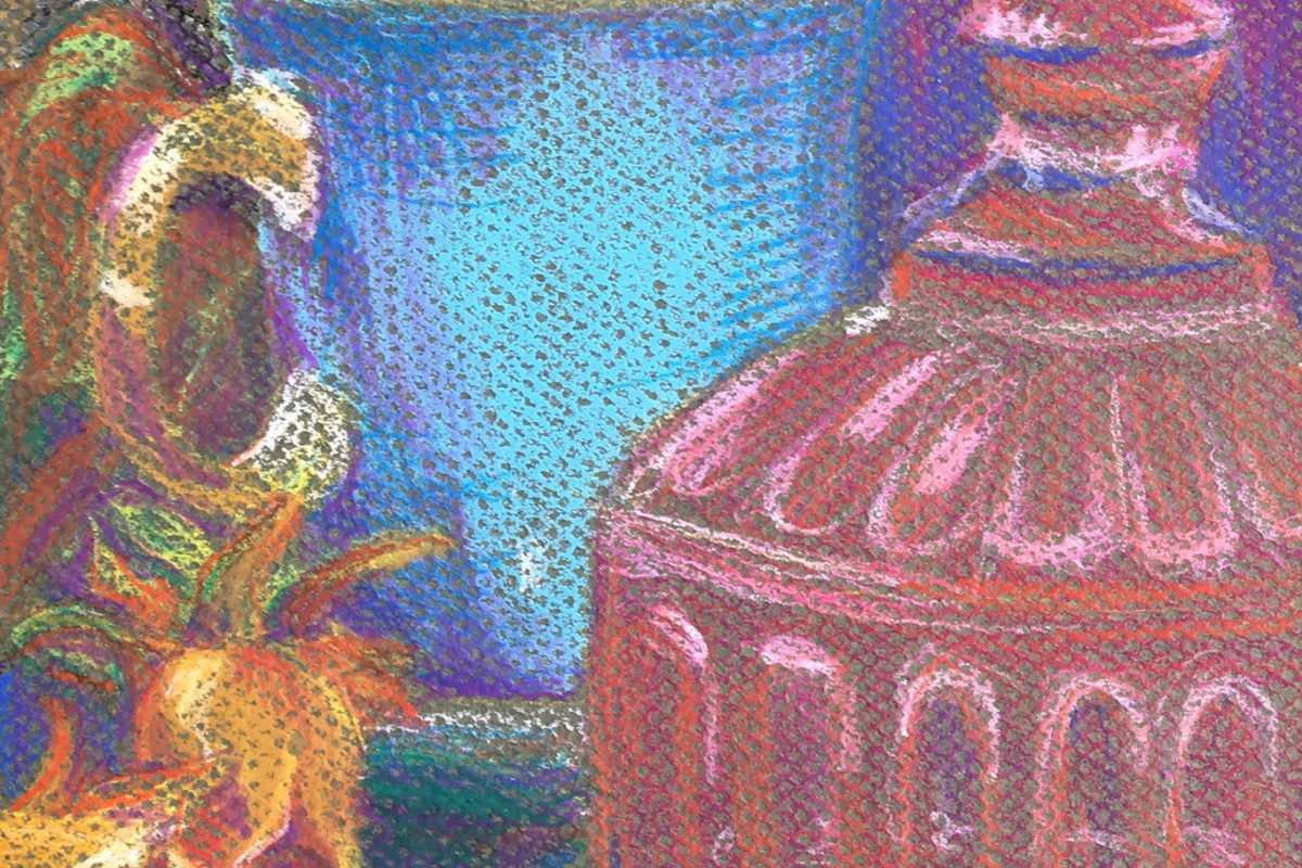 Crayon Still Life Drawing by