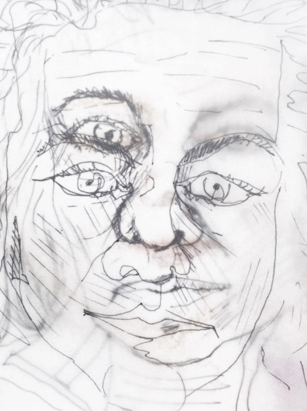 Self-Portrait Line Drawing by Camelia Burn
