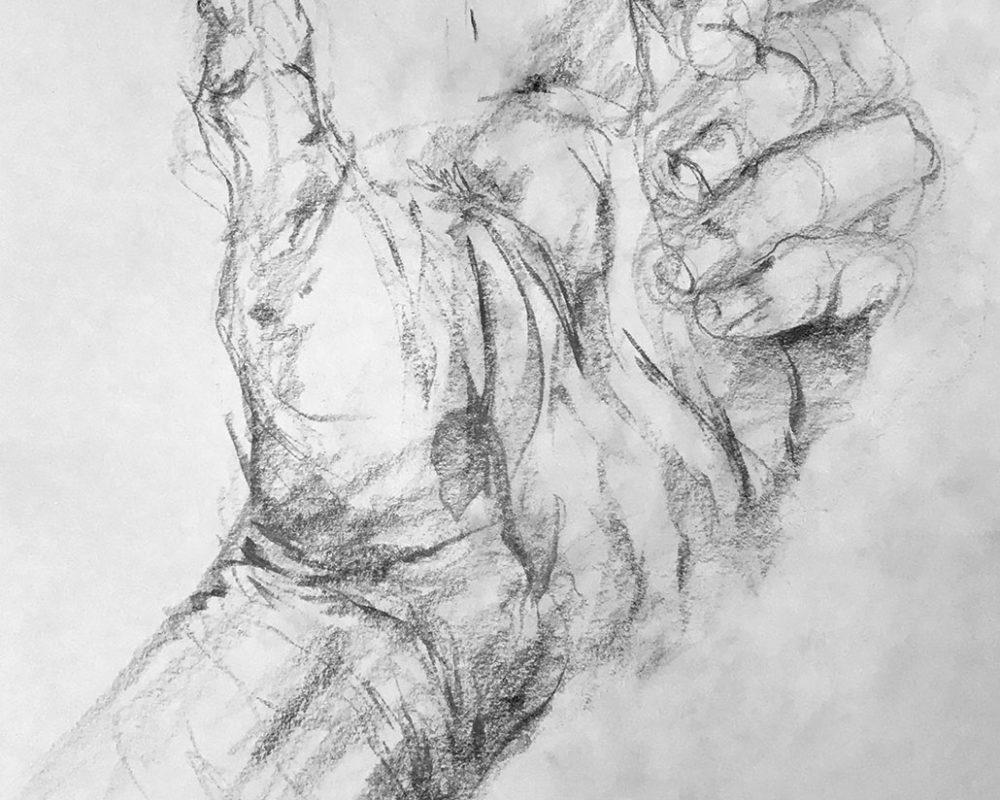Gesture Drawing, Graphite, Prof Clara Lieu