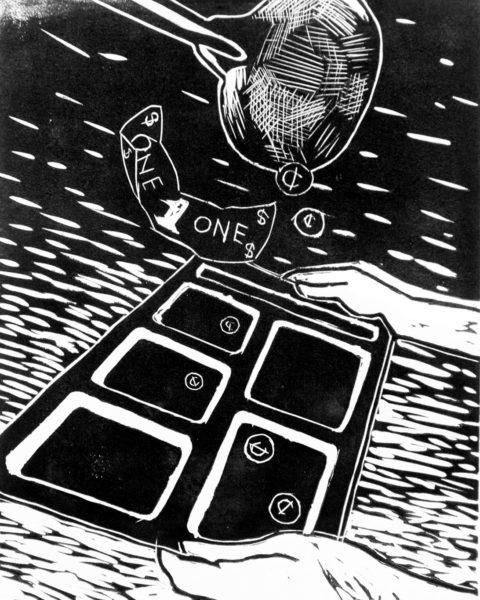 Lee Moistoso, Editorial Illustration, Linoleum Block Print