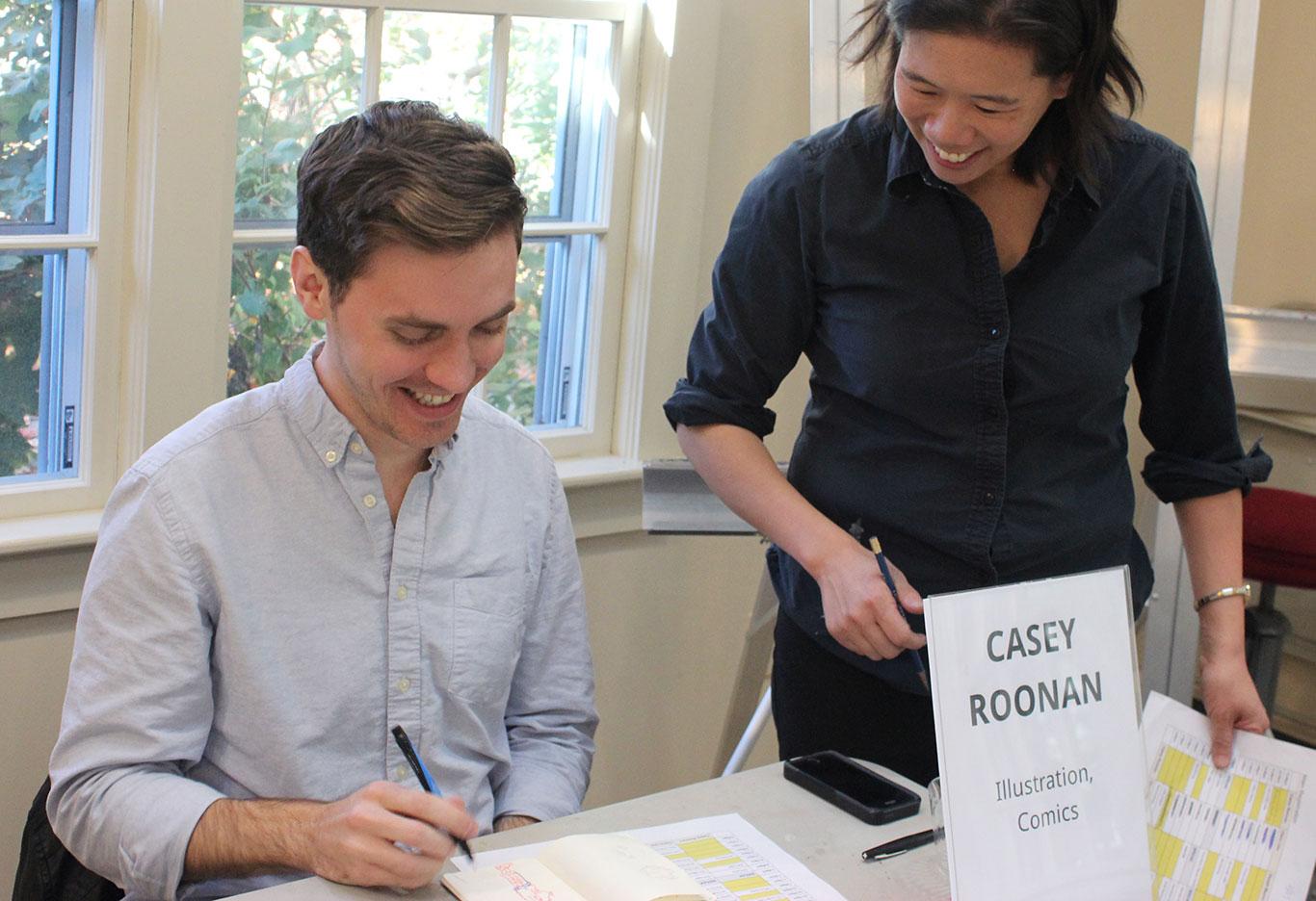 Art Prof TA Casey Roonan with Prof Clara Lieu
