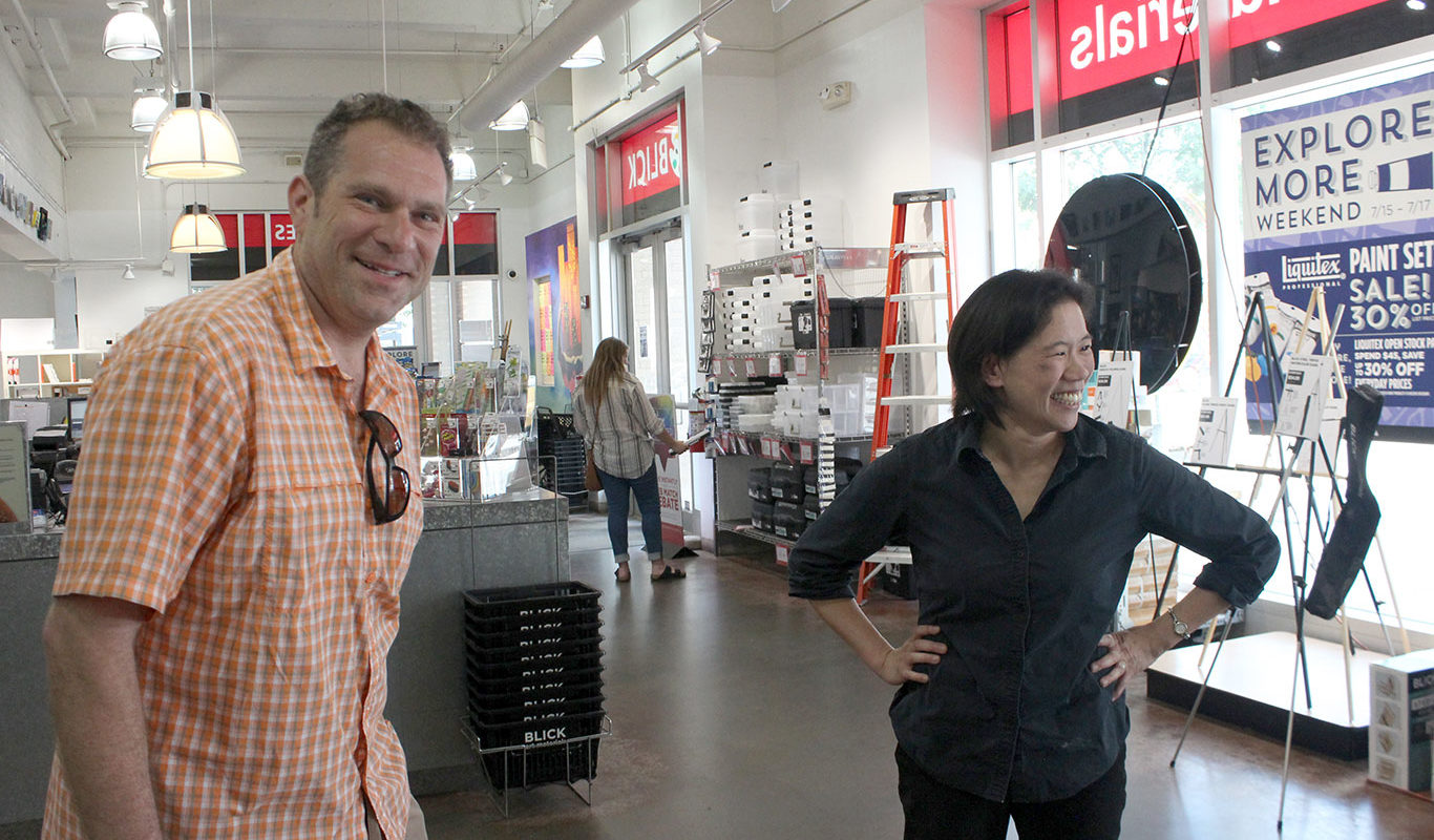 Prof Clara Lieu & Thomas Lerra at Dick Blick in Boston