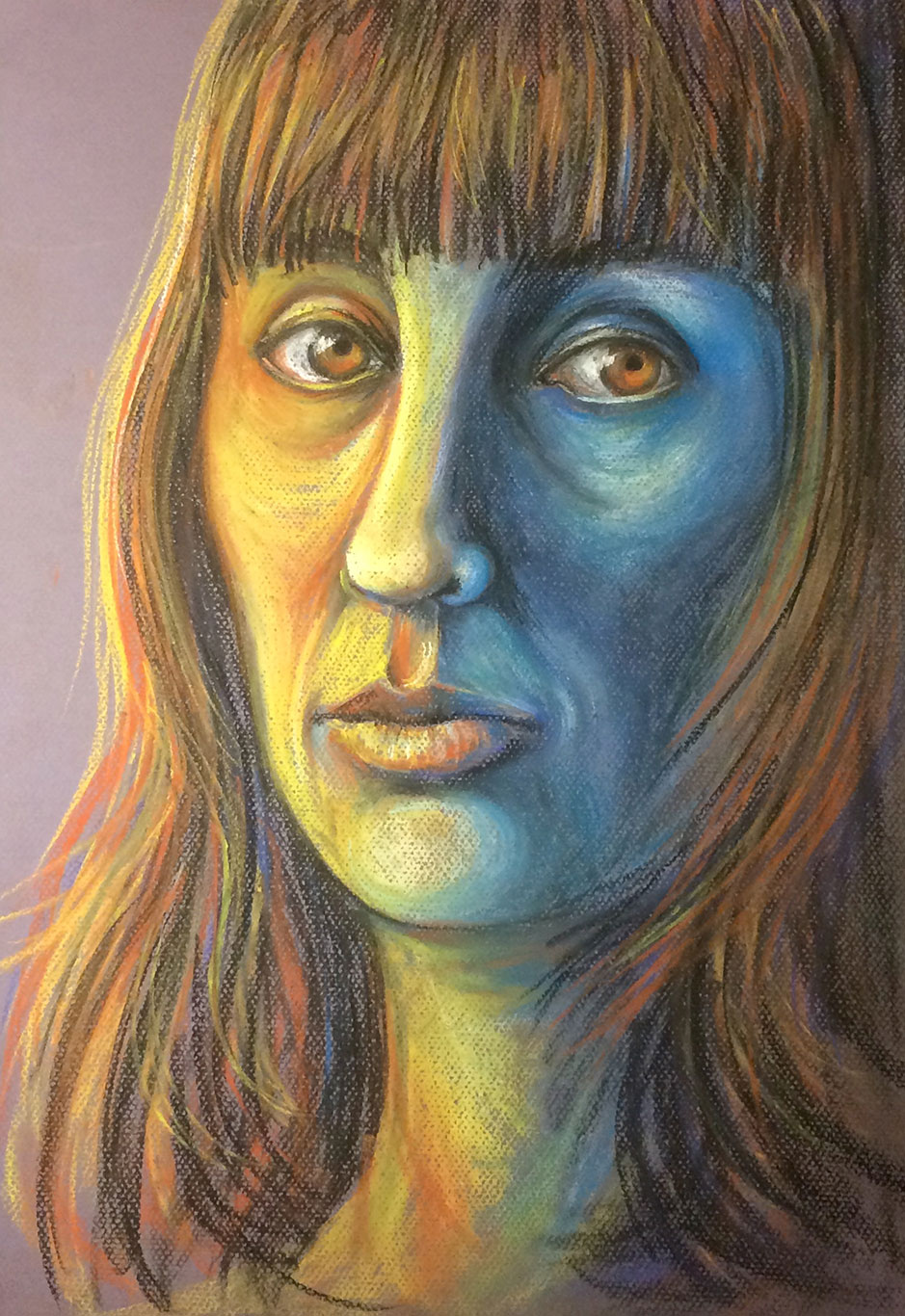 Self-Portrait Pastel Drawing by Sole Afra Martinez