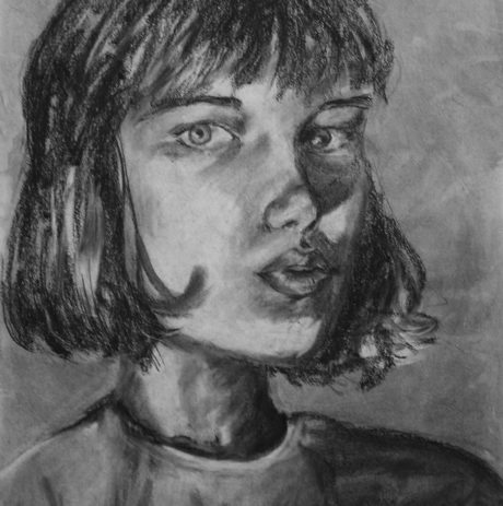 Charcoal Portrait Drawing, Alexia Towle