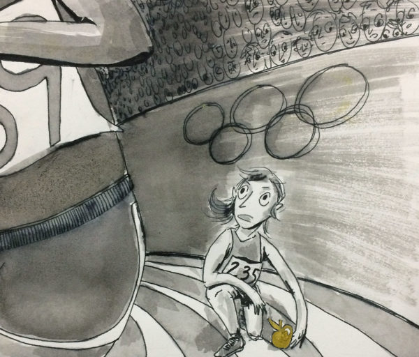 Modern Myth, Ink Wash Drawing, Elsa Hillis