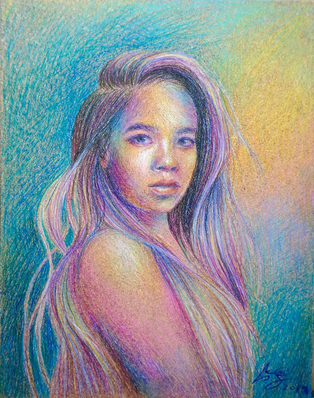 Caran d'Ache Crayon Drawing, Megan Ong