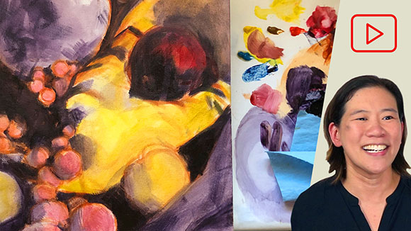 Water Mixable Oils: Purple & Yellow Still Life