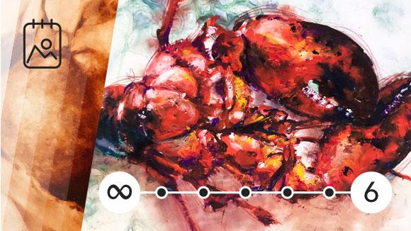 Lobster Oil Pastel Drawing, Clara Lieu