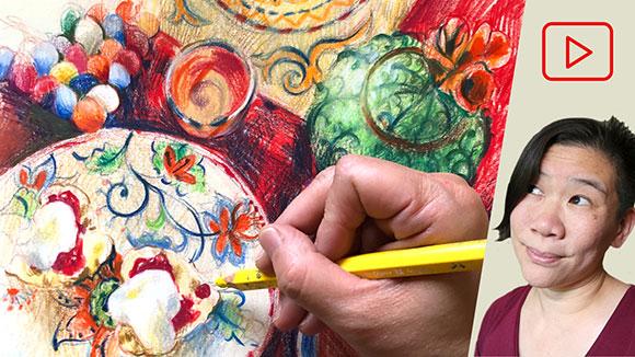 Colored Pencil Drawing: Tea & Scones