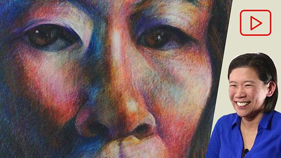 Self-Portrait Drawing in Crayon, Clara Lieu