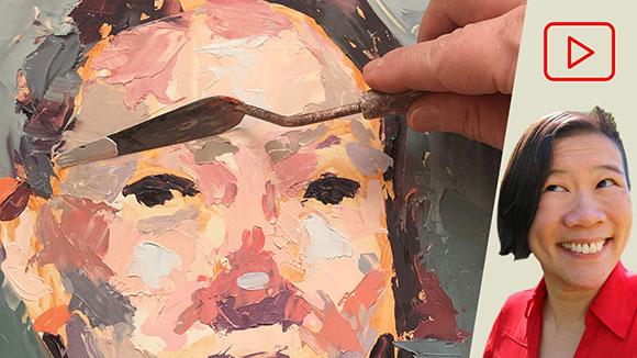 Palette Knife Self-Portrait Painting