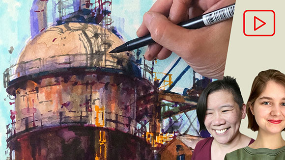 Brush Pen Drawing, Oil Refinery, Clara Lieu